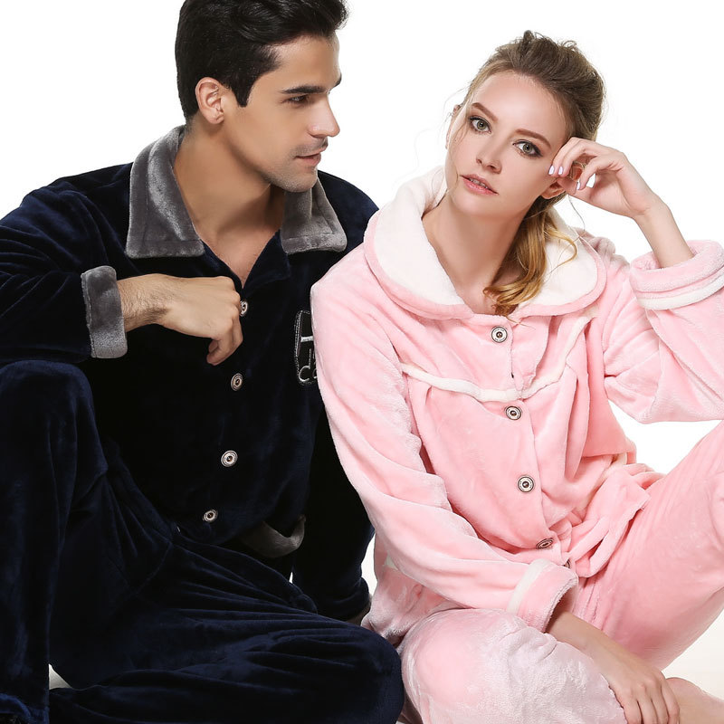 Mens Matching Couples Winter Flannel Pajama Set sleepwear Mens pajamas Men Plus Size nightwear XXXL in Men 39 s Pajama Sets from Underwear amp Sleepwears