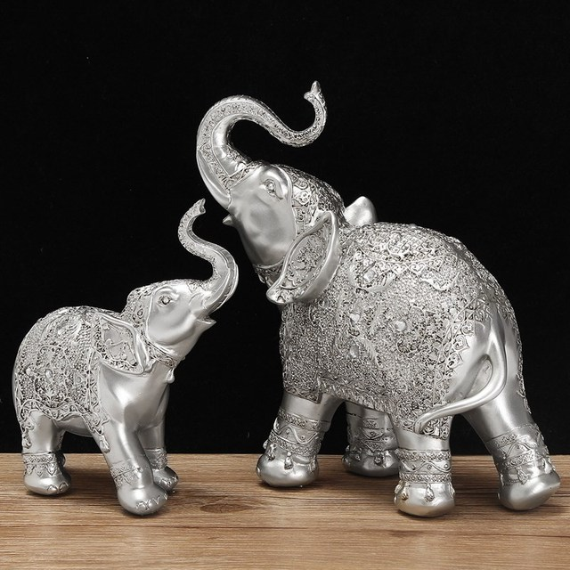 Fashion 2Pcs Set Silver Polyresin Ornate Elephant Statue Lucky Figurine Sculptures Ornaments For Home Office