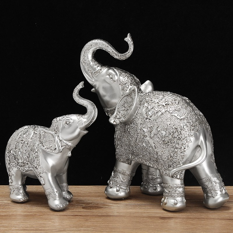 Fashion 2Pcs/set Silver Polyresin Ornate Elephant Statue Lucky Figurine Sculptures Ornaments for Home Office Decor Crafts Gift