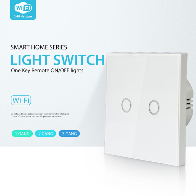 AC 85-230V On/Off LED Light Wall Wifi Smart Light Switches Safe APP Control Wall Switch Waterproof Wall Box Touch Light Switch