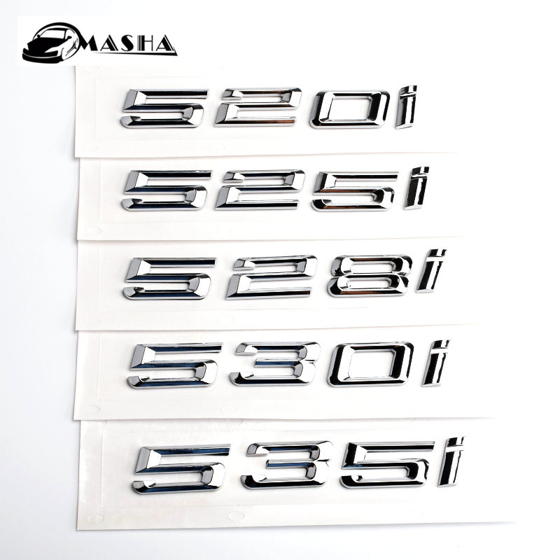 Letter Car Number ABS Silver chrome Emblem Badge car sticker accessories for BMW 5 series E39 E60 E62 E64 F10 F18 520I 525I 530I for bmw 5 series e12 e28 e34 e39 e60 e61 f10 f11 f07 523i 528i 525i chrome number letters rear trunk emblem badge sticker