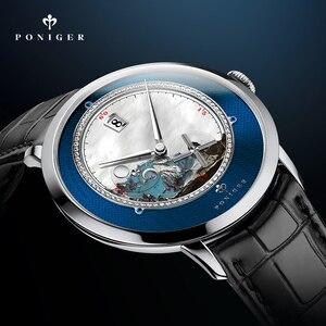 Image 4 - Zwitserland Top Luxe Merk PONIGER Mannen Horloge Japan Import Automatische Mechanische MOVT Horloges Landschap Dial Sapphire P723 4