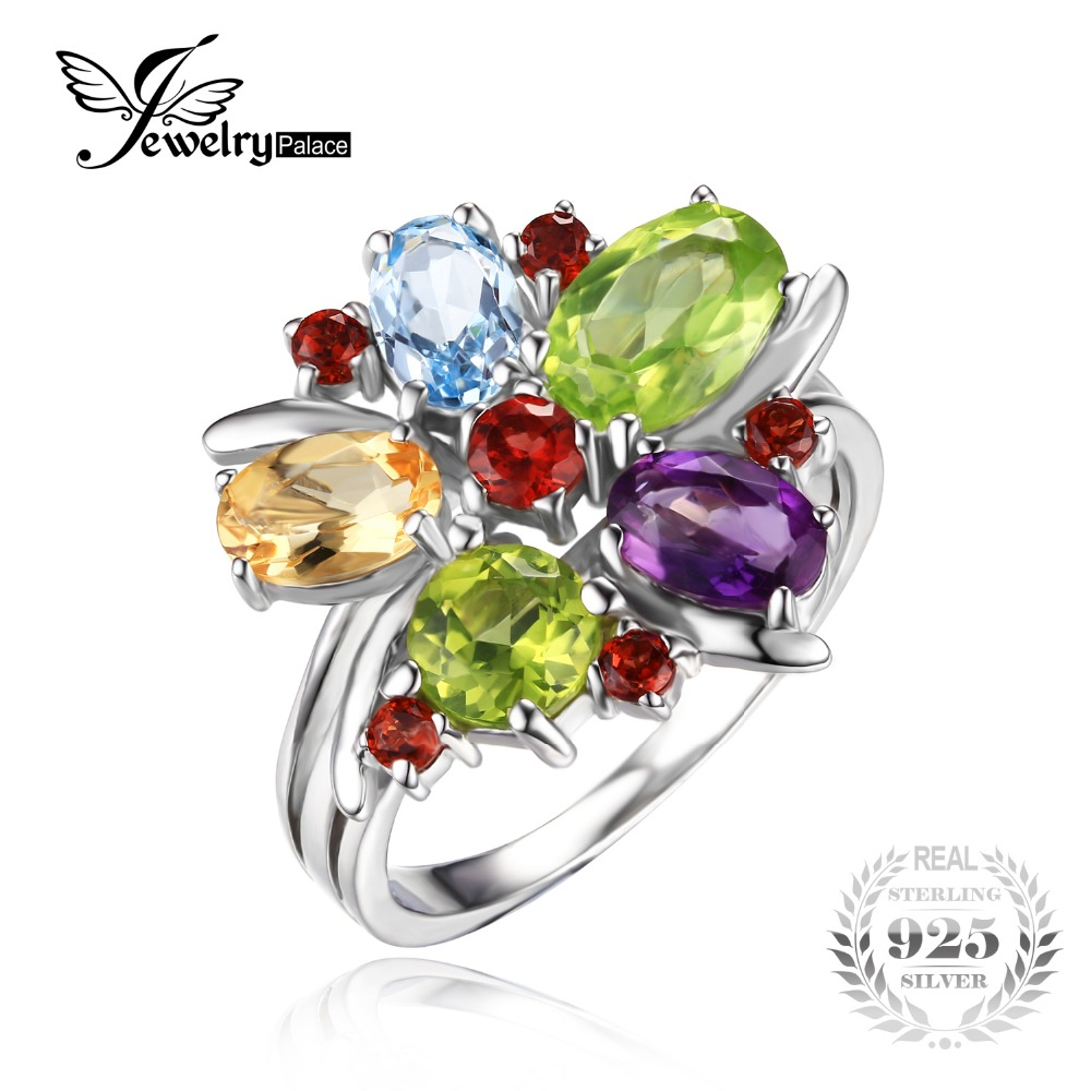 JewelryPalace Flower Multicolor 3 1ct Amethysts Garnets Peridot Citrines Blue Topazs Cocktail Ring Pure 925 Sterling