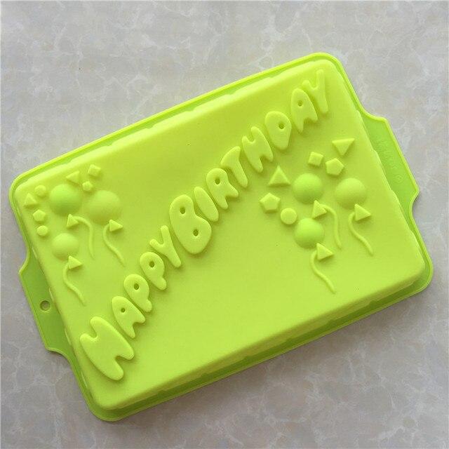 HAPPY BIRTHDAY English Alphabet Silicone Birthday Cake Mold Party Pan Bakeware Free Shipping