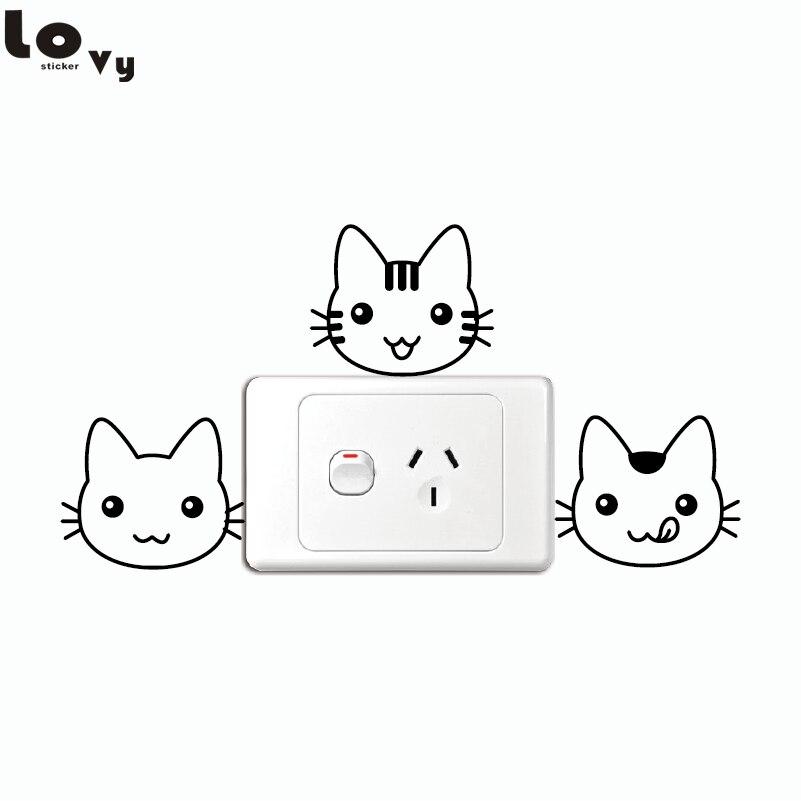 3 Interruptor Pçs set Gatinho Bonito Engraçado Etiqueta Dos Desenhos  Animados gato Animal de Vinil Adesivo de Parede para Quarto de Crianças  Quarto Casa ... 081835c6123a6