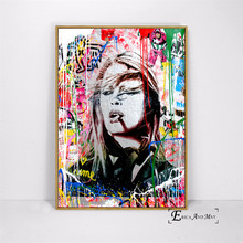 Brigitte Bardot Street Painted Pop Art Posters and Prints Wall art Decorative Picture Canvas Painting For Living Room Home Decor lips pop art design posters and prints wall art decorative picture canvas painting for living room home decor unframed