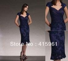 Navy Blue Beaded Appliqued Cap Sleeve Short Mother of the Bride Dresses Dress M387