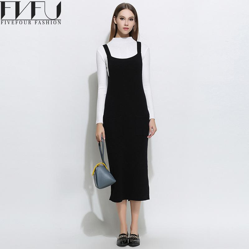 Fashion 2017 Dress Women Autumn Winter Knitted Strap Sweater Dress Women High Quality Casual Sweaters Dress Women Plus Size italian light high quality 2017 autumn winter new brand women s wear national knitted wool sweater dress plus size s xxl 4 color