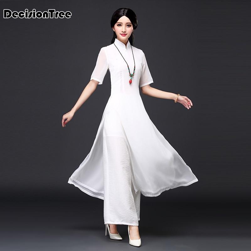 2017 musim panas vietnam ao dai pakaian tradisional Cina cina pakaian - Pakaian kebangsaan - Foto 3