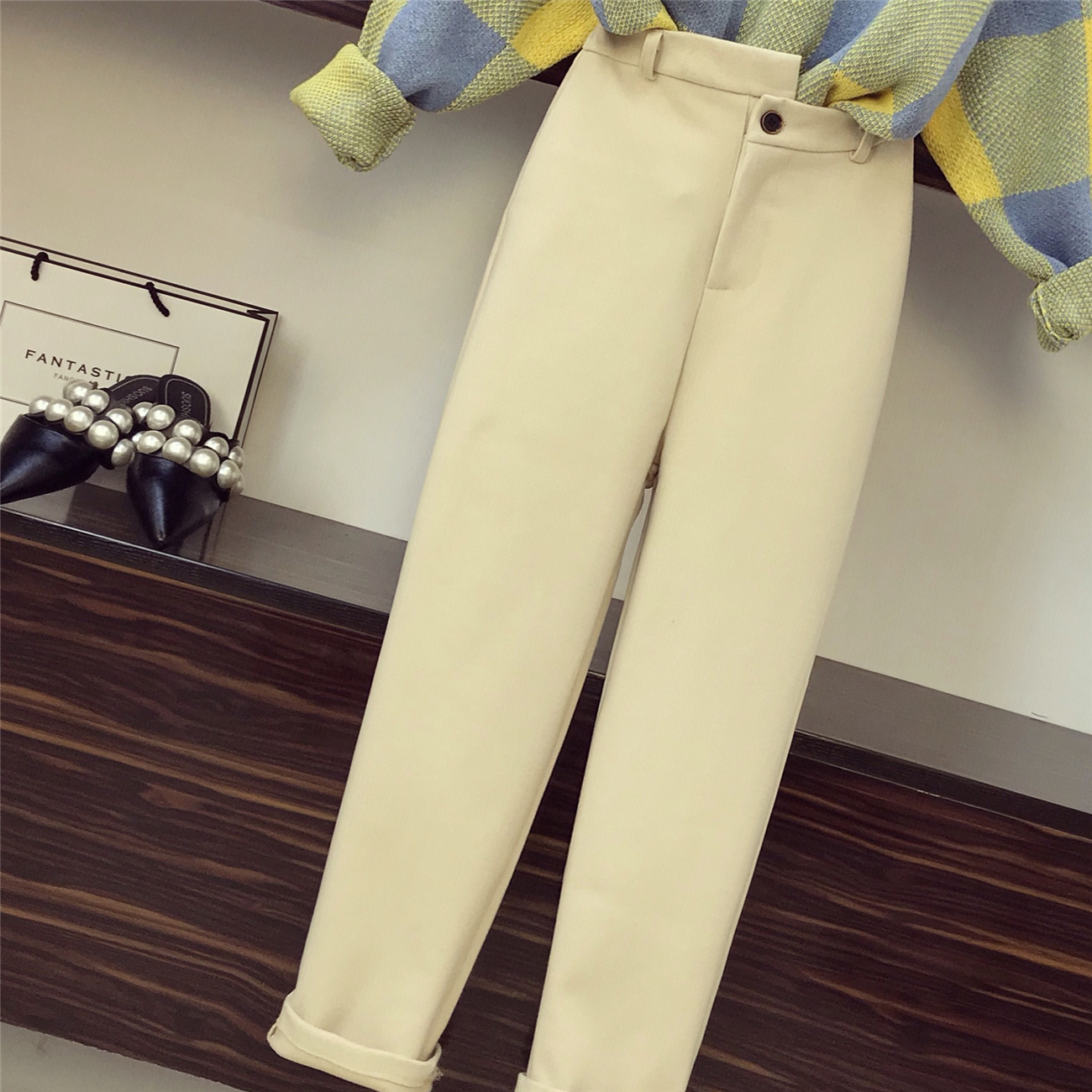 2018 New Fashion Autumn Women's Long Sleeve Loose Sweater + Woolen Haren Pants Two Pieces Students Leisure Pants Sets 16
