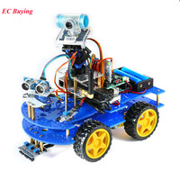 Bluetooth Multi Functional DIY 4WD Smart Robot Car Kit Video For Arduino Robot Car