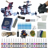 Complete Beginner Tattoo Kit LCD Tattoo Power Supply Cheap Tattoo Kit Set 20 Colors Tattoo Ink