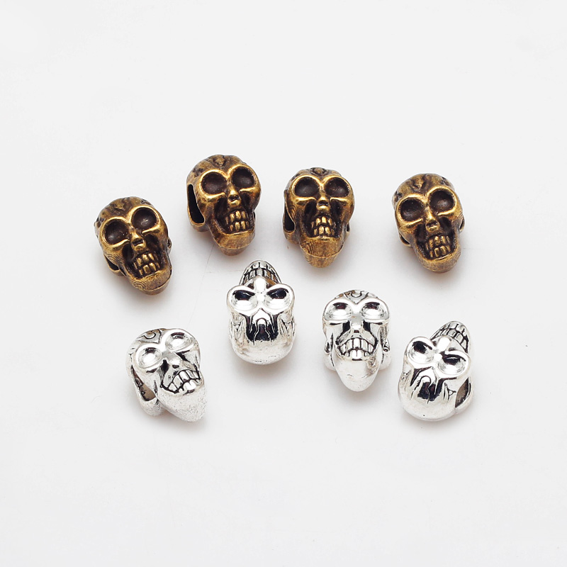 Vintage Metal Double-sided Skull Beads fit Pandora Charms Diy Big Hole Beads for Jewelry Making 30pcs B8492