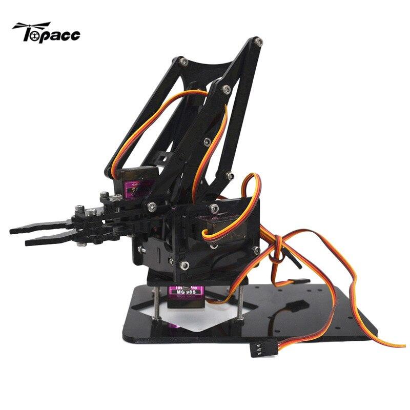 4DOF Assembling Acrylic Mechine Robot Arm with MG90 Metal Gear Servo For RC Robot DIY 4 dof wood robotic arm sg90 servo for arduino raspberry pie snam1500