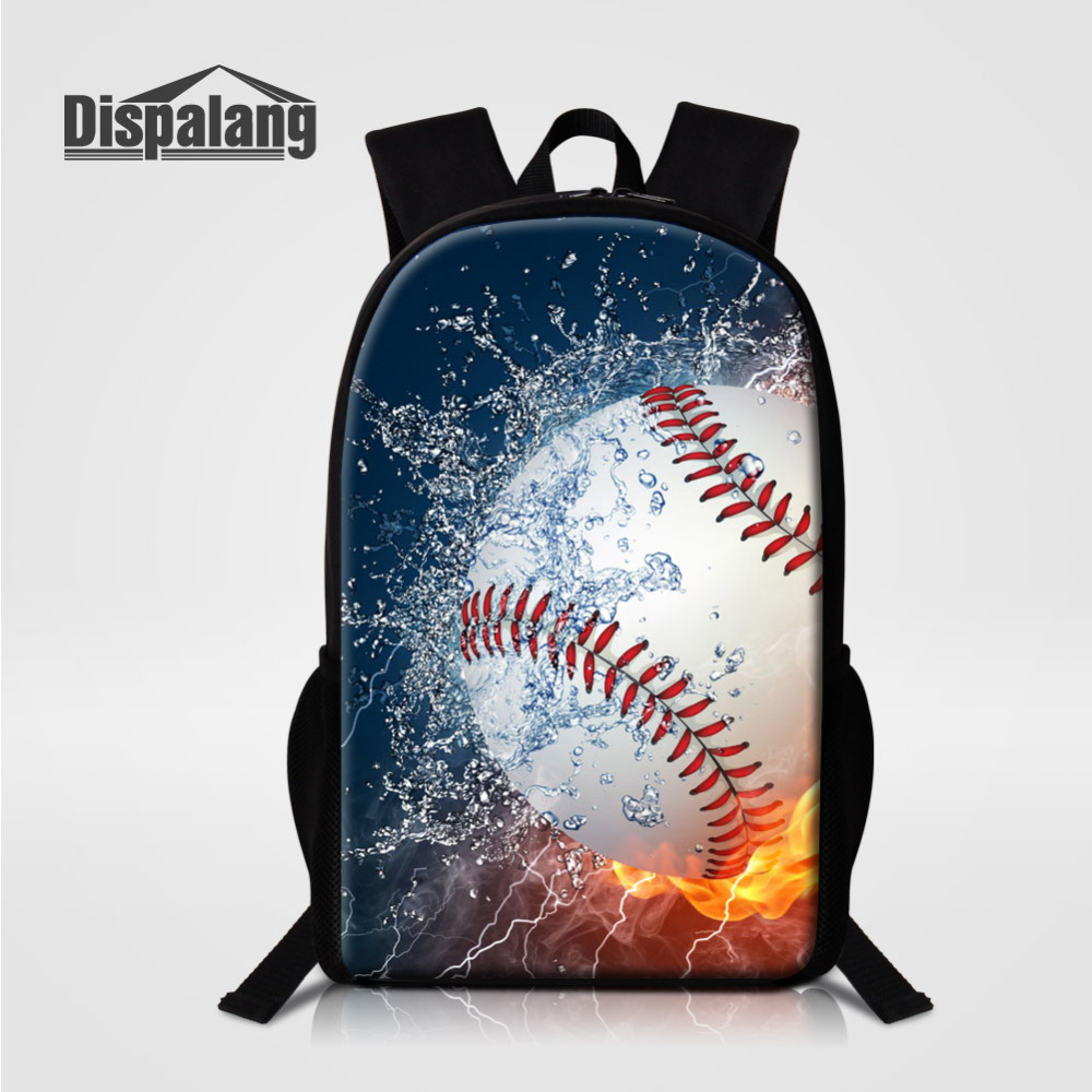 Dispalang 3D Baseball Print School Bag For Girls Boy Children Backpack Student Book Bag Kids Sports Shoulder Bag Mochila Escolar bollard twins outfit