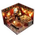 Presente de natal Diy Casa De Bonecas de Madeira Com Móveis Luz Tampa Protetora Contra Poeira Bonecas Em Miniatura Casa De Bonecas De Brinquedo 3D Puzzle para Crianças TW8