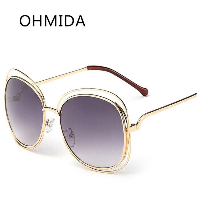 f4d47a82452 OHMIDA Fashion Sunglasses Classic Metal Transparent Frame Big Frame Round  Shades Vintage Ladies Brand Designer Sun glasses UV400