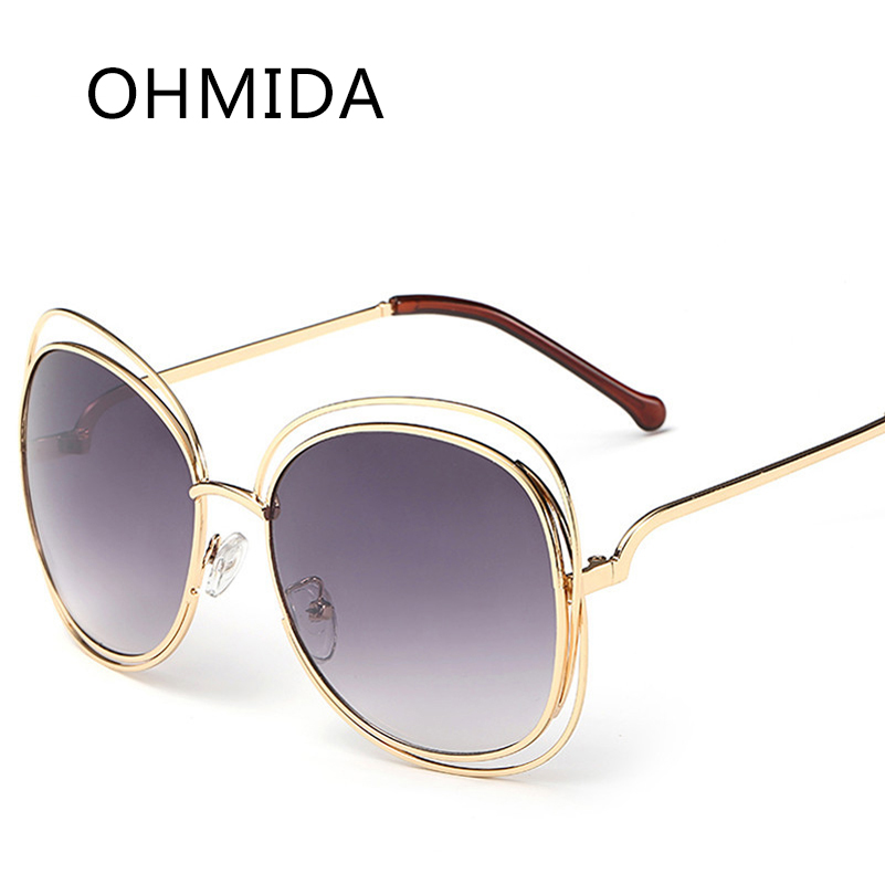 b6ec2004959 OHMIDA Lunettes De Soleil de Mode Classique En Métal Transparent Cadre  Grand Cadre Rond Shades Vintage Dames Marque Designer lunettes de Soleil  UV400