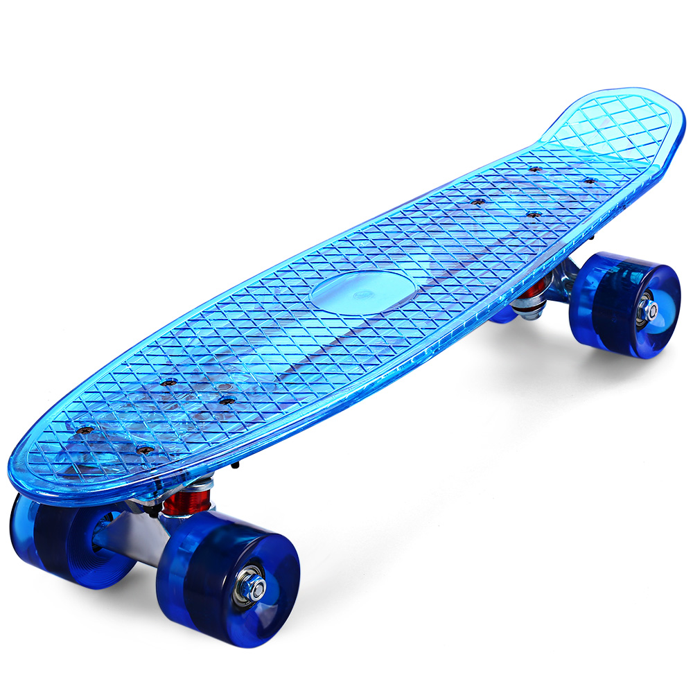 Outlife CL-402 Transparent LED Wheel Skateboard Ocean Style Complete 22 inch Retro Cruiser LongBoard for Child Teenagers Adult cl 402 transparent led ocean style skateboard with several changeable lights complete skateboard 22 inch cruiser longboard