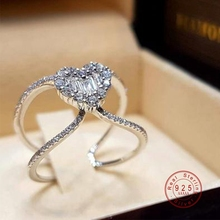 Love Heart Shaped 925 Sterling Silver Ring For Women Fashion Cubic Zircon