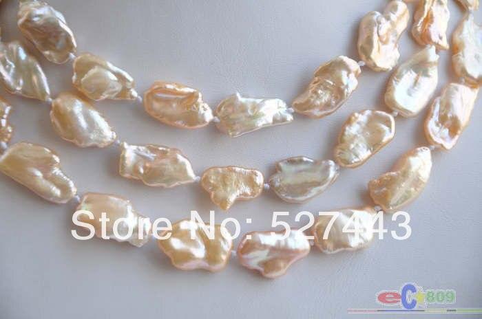 """Gros livraison gratuite > > P4329 lustre 50 """" 20 mm rose BAROQUE KESHI REBORN collier de perles"""