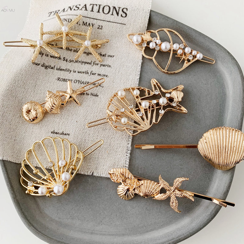 AOMU Summer Beach Hair Accessories Metal Gold Color Shell Conch Women Hairpin Hair Clips For Girls Imitiation Pearl Crystal Hair