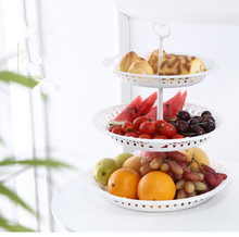 1PC Round Fruit Cake Plate Nordic Style Pure Color New Hollow Candy Wedding Tray White OK 0811