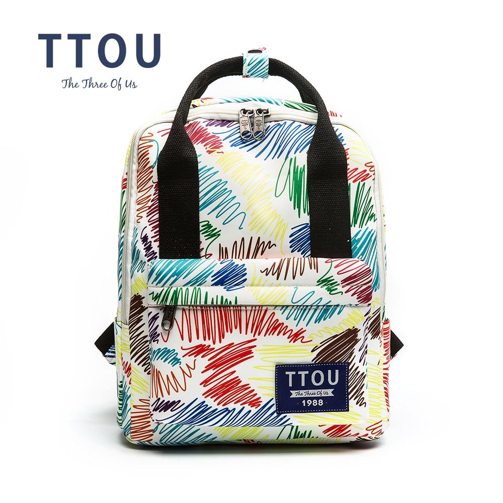цены на TTOU Design Colorful Strped Printing Backpack Teenage Girls School Bag Women Backpack Travel Bag Large Capacity Can Put in A4 в интернет-магазинах