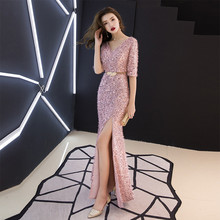 Plus Size Sexy Club Wear Party Dress Womens Pink Sequined Deep V Neck Twist Front High Slit Long Sleeve Sequin Maxi Dress
