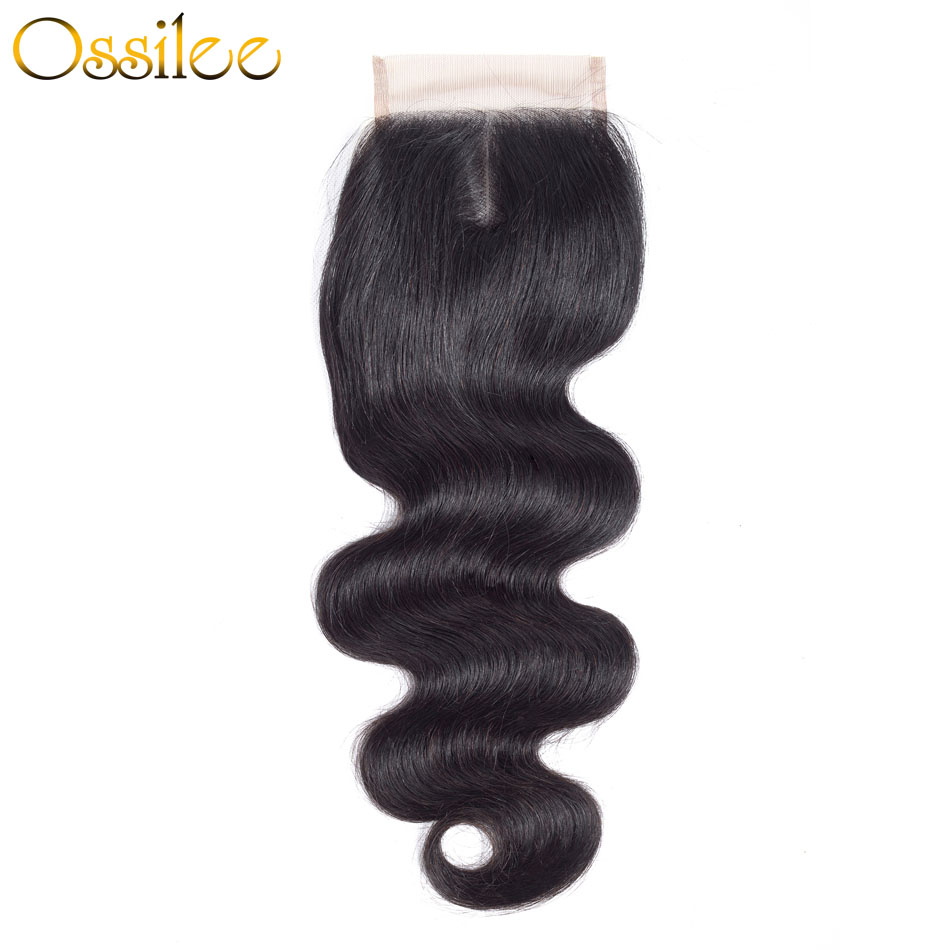 Ossilee Brazilian Body Wave Closure Remy Hair 4x4 Lace Closure 130% Density Human Hair Closure Swiss Lace