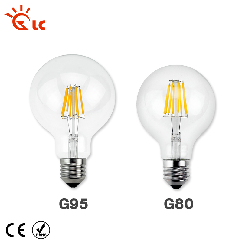 LED Candle Light E27 Filament Light Glass Lamp G80 G95 220V 240V 8W 12W 16W Bulb Antique Retro Vintage Edison Led Bulb vintage edison bulb led e27 e14 lamp filament light vintage led bulb lamp 220v retro candle light 2w 4w 6w 8w g45 g80 g95 g125