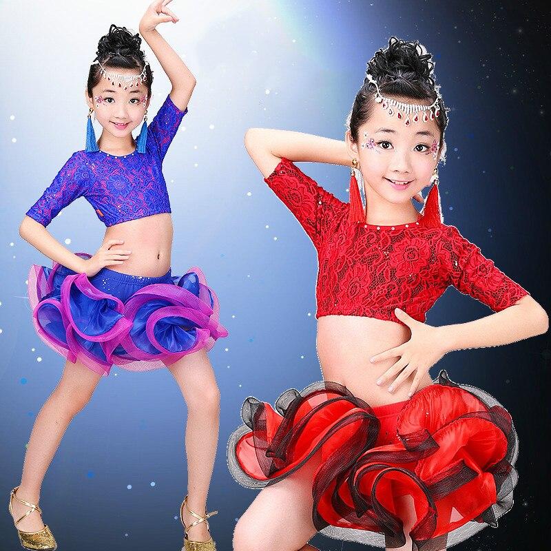 2016 New Childrens Red/blue/Rose Red Latin Dance Ballroom Dance Wear Salsa Tango Rumba Cha Cha Costume