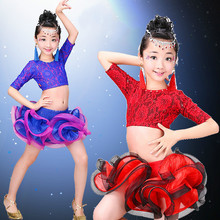 2016 New Children's Red/blue/Rose Red Latin Dance Ballroom Dance Wear Salsa Tango Rumba Cha Cha Costume