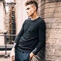 VIISHOW hombres de manga larga camiseta negro slim fit CAMISETA de los hombres ropa tee shirt homme hombres ropa de marca Patchwork de cuero superior