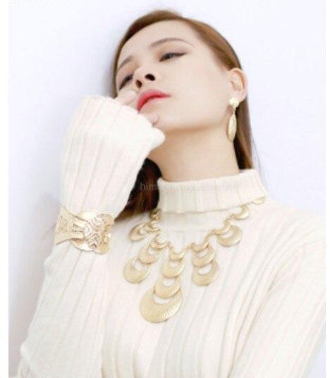 Europe et amérique exagéré collier vintage en métal design court collier décoratif chandail chaîne vêtements Fine large chaîne
