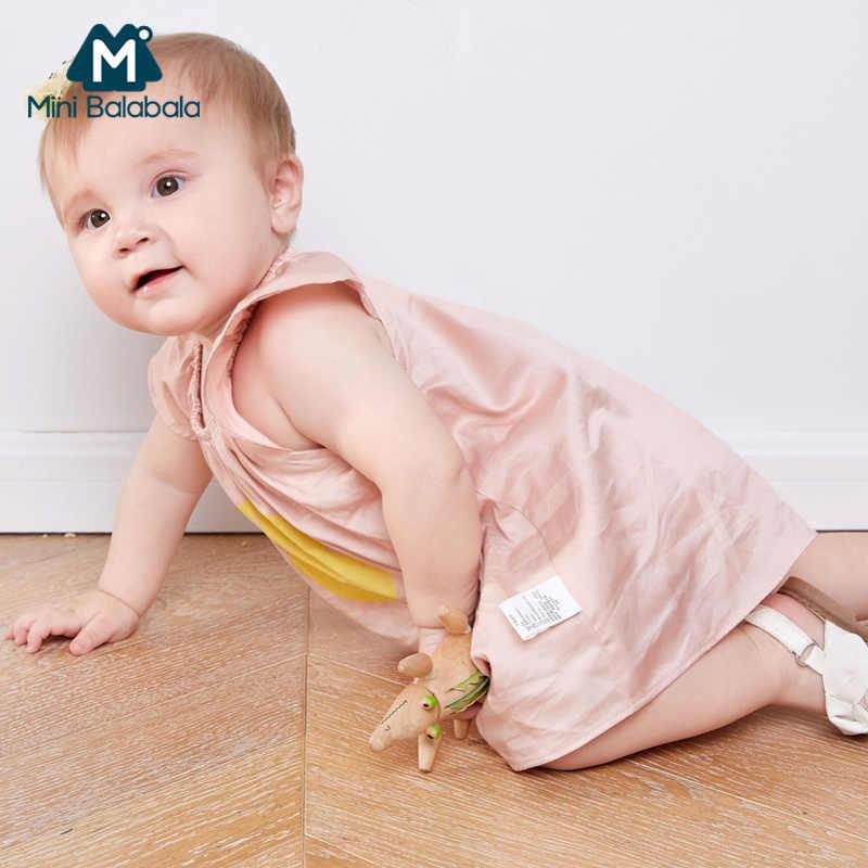 MiniBalabala vestido bebé niña 100% algodón vestido gráfico Manga mariposa infantil recién nacido bebé A-line vestidos elásticos
