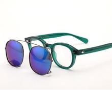 Johnny Depp Polarized Sunglasses Clip On Glasses Men Women Green Acetate Optical Frame Brand design Sq313-2