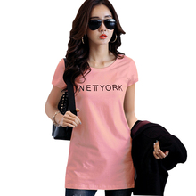 Shintimes T Shirt Women Clothes 2019 Summer Fashion Cotton Long T-Shirts Letter Short Sleeve Tee Femme Camisetas Mujer
