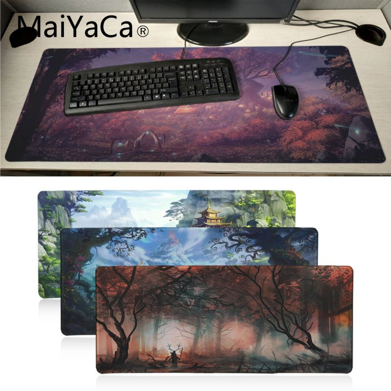 MaiYaCa Beautiful Anime Fantasy Town Tree Anti-Slip Durable Silicone Computermats Anime Cartoon Print Large Size Game Mouse Pad
