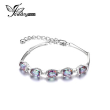 Jewelrypalace Natural Mystic Rainbow Topaz Bracelet Tennis Link Genuine 925 Sterling Silver Women 2016 New Fashion Fine Jewelry