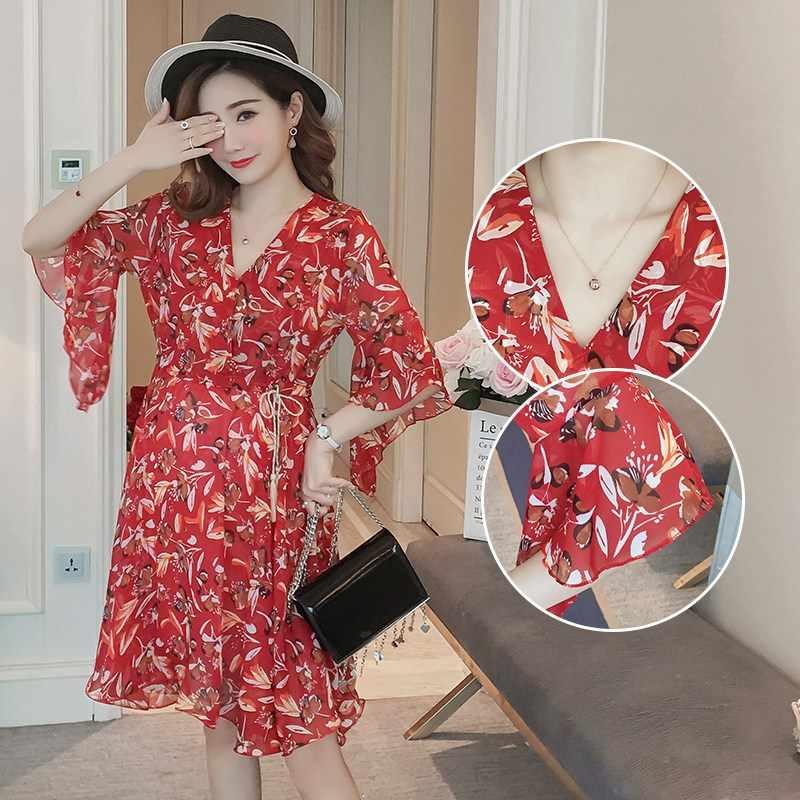 Летняя новая корейская мода для беременных платье новое летнее шифоновое платье с принтом длинное платье для беременных женщин