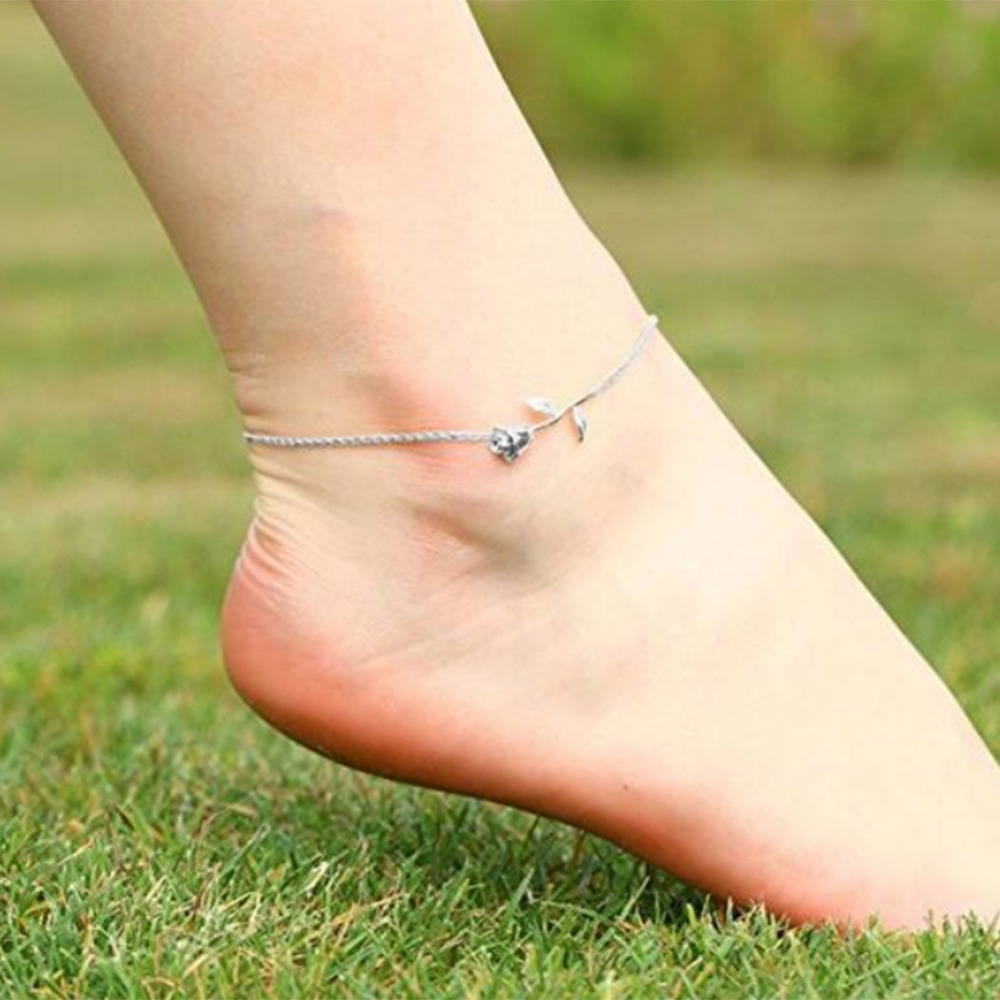 New Fashion Gold Silver Rose Flower Pendant Anklet Link Chain Beach Foot Jewelry Barefoot Foot Chain for Women Girls