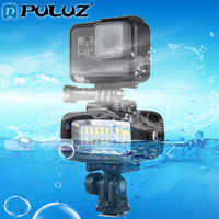 PULUZ Camera Flashes 30m Waterproof IPx8 Studio Light Video&Photo Light+Hot Shoe Base 20 LEDs For Go Pro Flashes