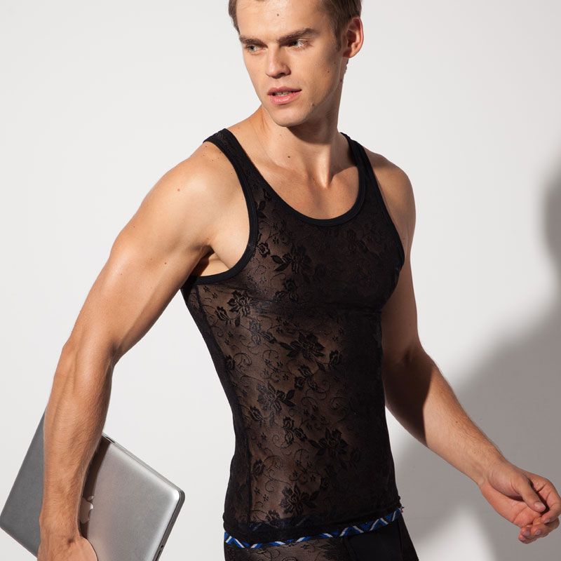 LOOCH Men's vest Sexy mesh breathable vest Basic shirt Lace see-through   tank     top   2 colors