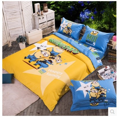 Hy Family Minion Bed Bedding Sets King Queen Size Cartoon For Kids Bedspreads Duvet Cover Sheets