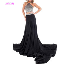 купить Crystals Beaded Two Pieces Prom Dresses Sexy Halter Backless Long Formal Party Gowns High Quality Evening Dresses robe de soiree дешево