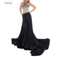 265b245cfe Lismo ventas calientes 2018 Halter moldeado Backless dos piezas de gasa  vestidos formales vestido de dama de honor largo vestido.