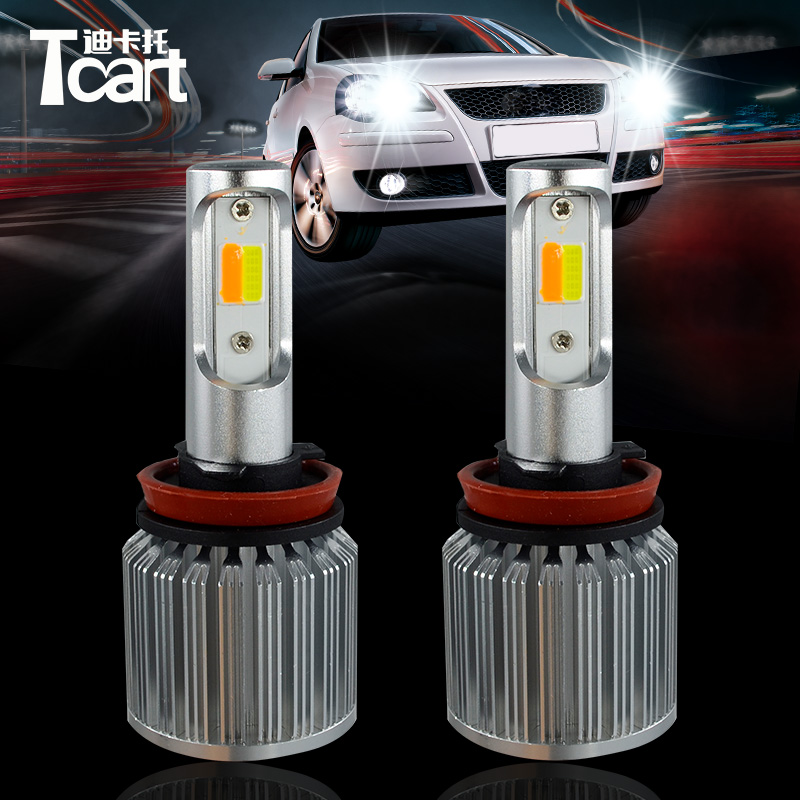 Tcart 2pcs Car LED Fog lights For Cars H8 H9 H11 H10 12V Auto Led COB White Driving Fog Lamp With Yellow Turn Signals Dual Color