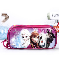 Cute School Pencil Case For Girls Cartoon Anna Elsa Big Capacity Double Zipper Pencil Bag Stationery