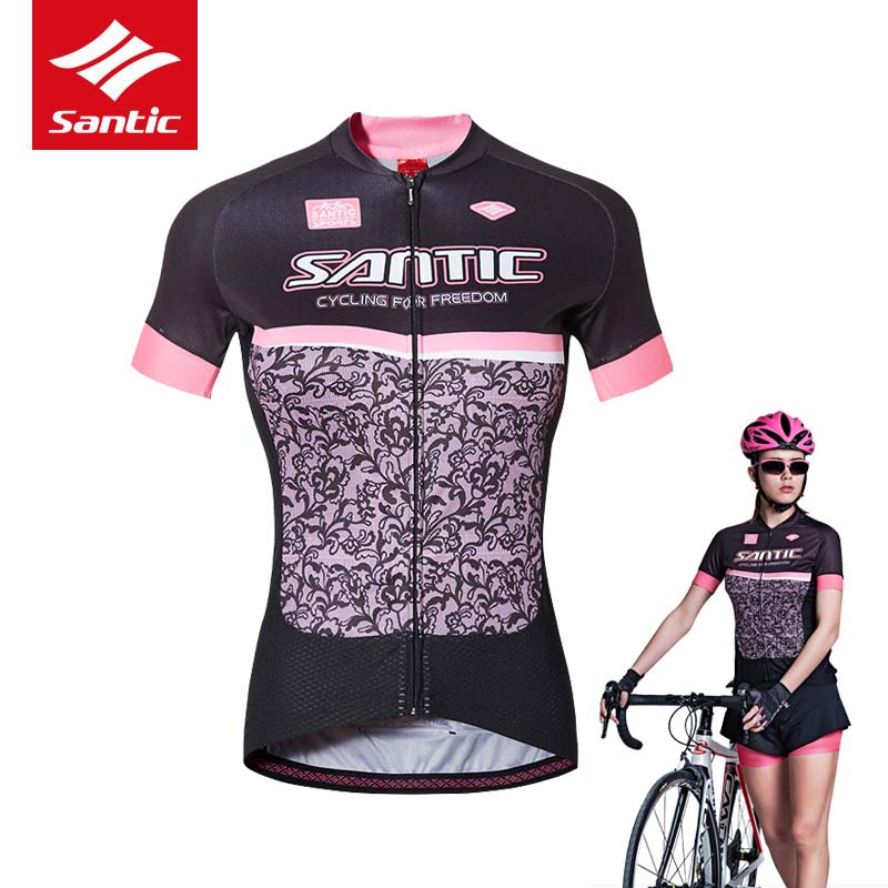 ФОТО Santic Cycling Jersey 2017 PRO Womens Summer Short Sleeve Quick Dry Breathable Lace Printing Jersey Bike Jersey Cycling Clothes